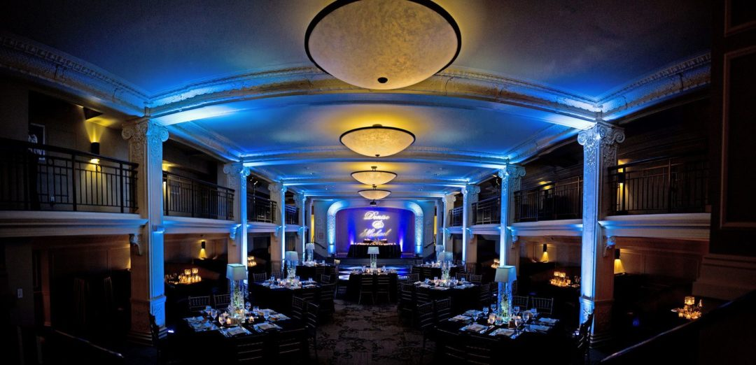 Blue and indigo uplighting at the Ballroom at Park Lane Villa