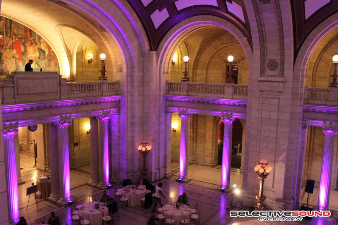 Uplights for wedding reception at cleveland courthouse