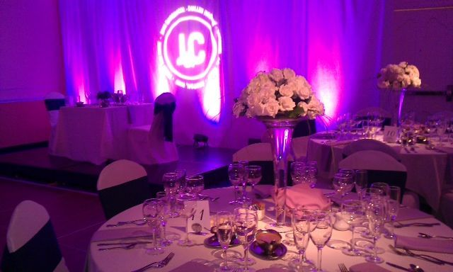 Custom lighting and decor created this custom wedding reception