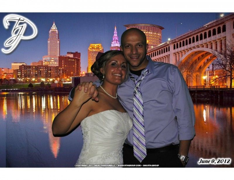 Our Green Screen Photo booth put this couple right in front of Cleveland