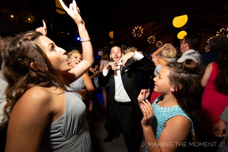 Wedding guests dancing to the best wedding DJ