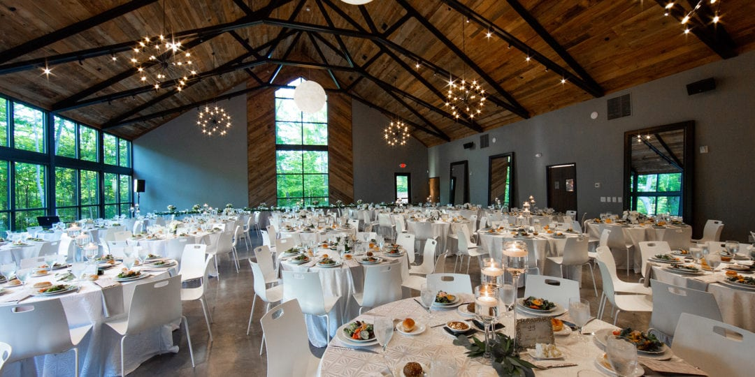 Reception hall for wedding at Sapphire Creek Winery in Cleveland Ohio