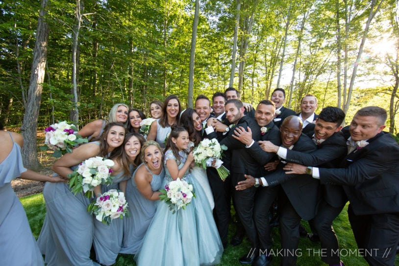 bridal party posing for picture