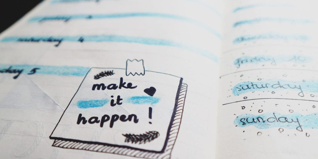 "wedding planning lists with sticky note reads ""Way to make it happen"""