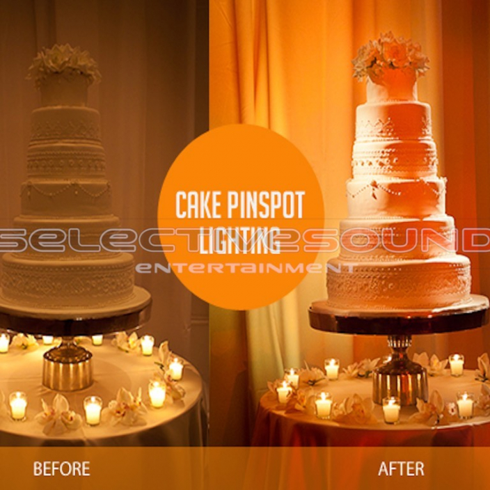 Wedding cake shown in this before and after photo of pin spotting technique