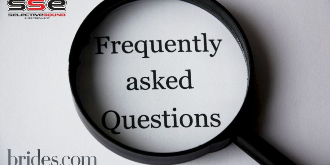 """Wedding DJ and Band questions. Magnifying glass over top of words """"frequently asked questions""""."""