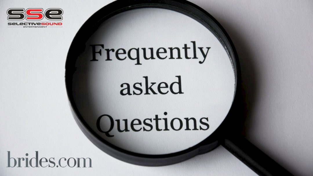 "Wedding DJ and Band questions. Magnifying glass over top of words ""frequently asked questions""."