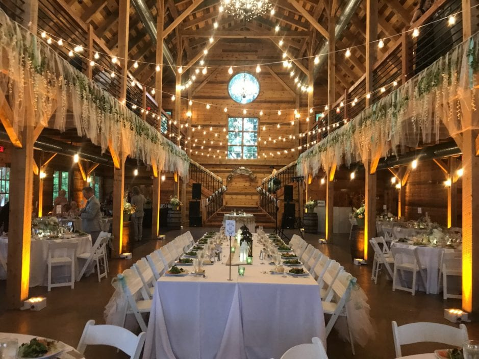 Unique lighting design at Mapleside Farms