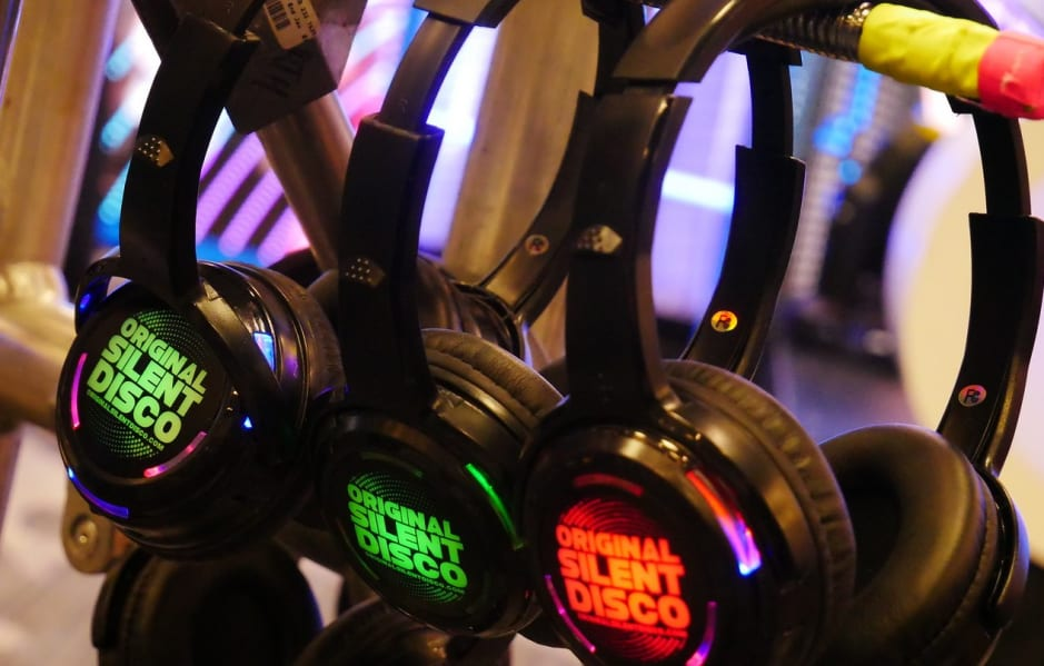 Infrared headphones used for Silent Disco