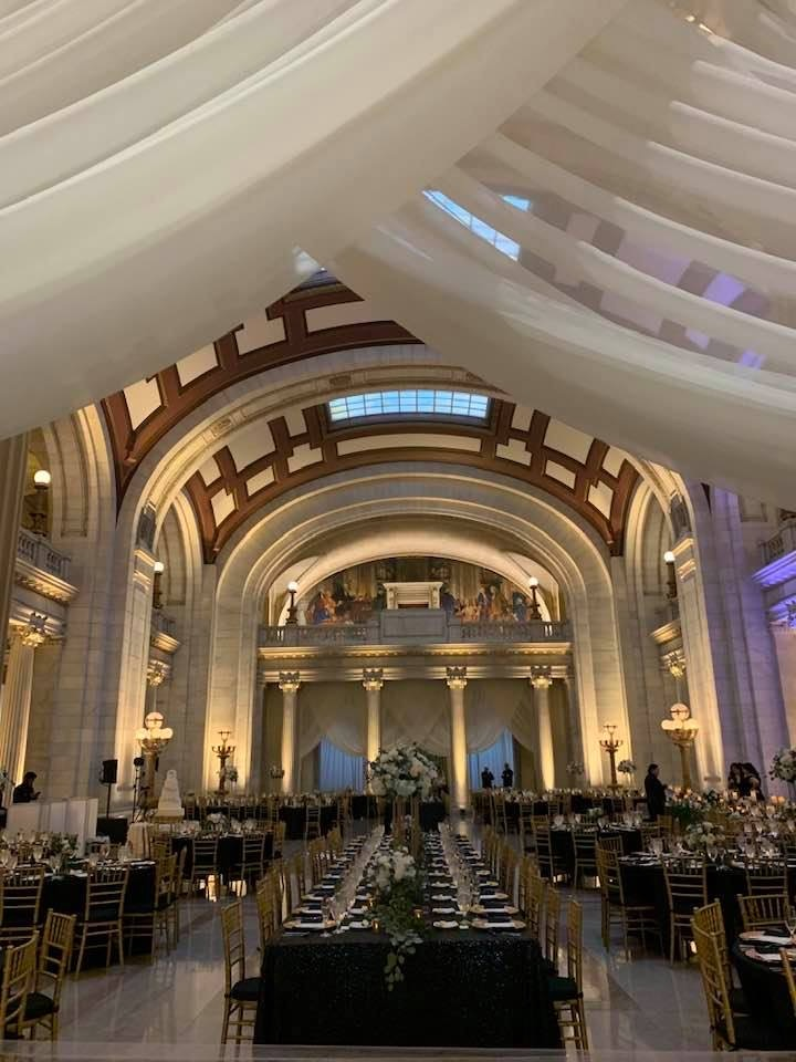 Cleveland Courthouse wedding picture with lighting and drapery