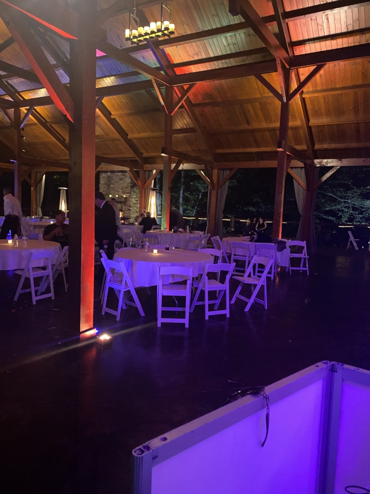 outdoor wedding pavilion with lights