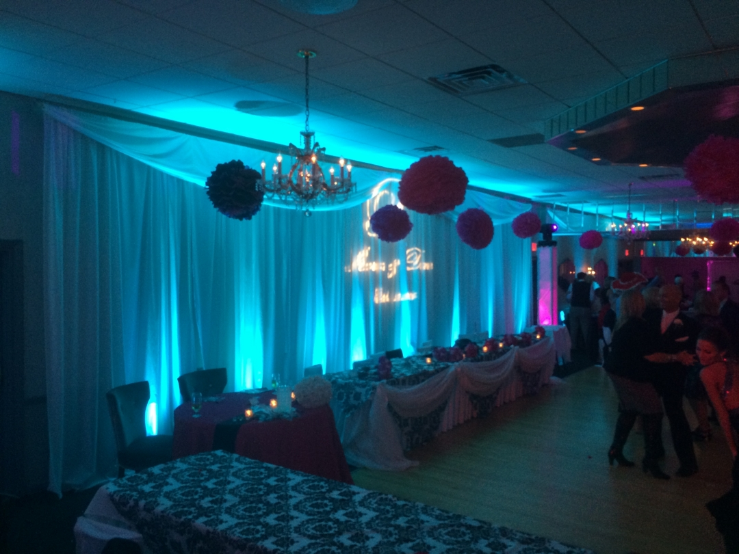 head table at wedding with backdrop in blue uplighting