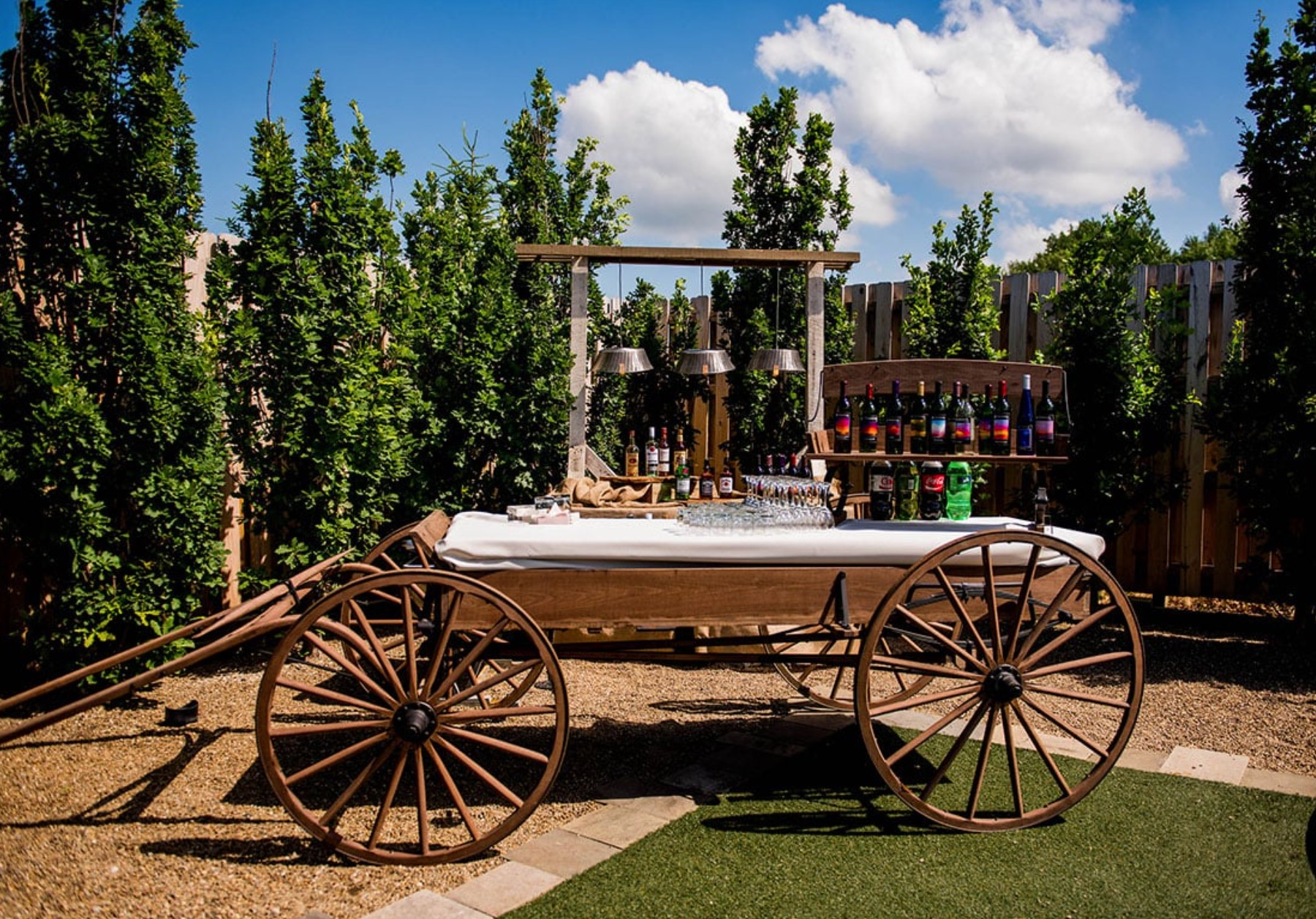 wooden wagon being used as a bar