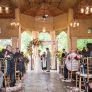 Bride and groom saying their vows at Gervasi Vineyard.