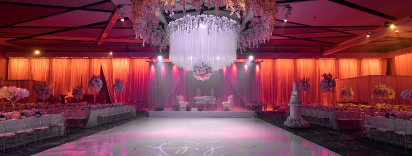 All white dance floor at Hilton Cleveland downtown wedding.