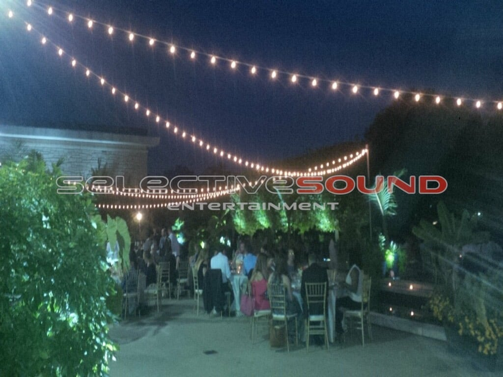 The warm glow from the bistro lighting gives a romantic feel to the natural beauty outside of the Cleveland Botanical garden
