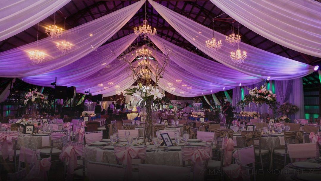 beautiful barn lighting, chandeliers and special effect lighting