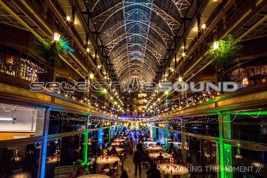 Inside of Cleveland arcade highlighted with various lighting techniques during NYE ball drop