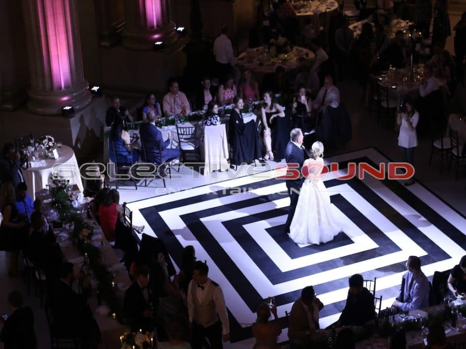 Cleveland City hall Rotunda spotlighting white and black dance floor