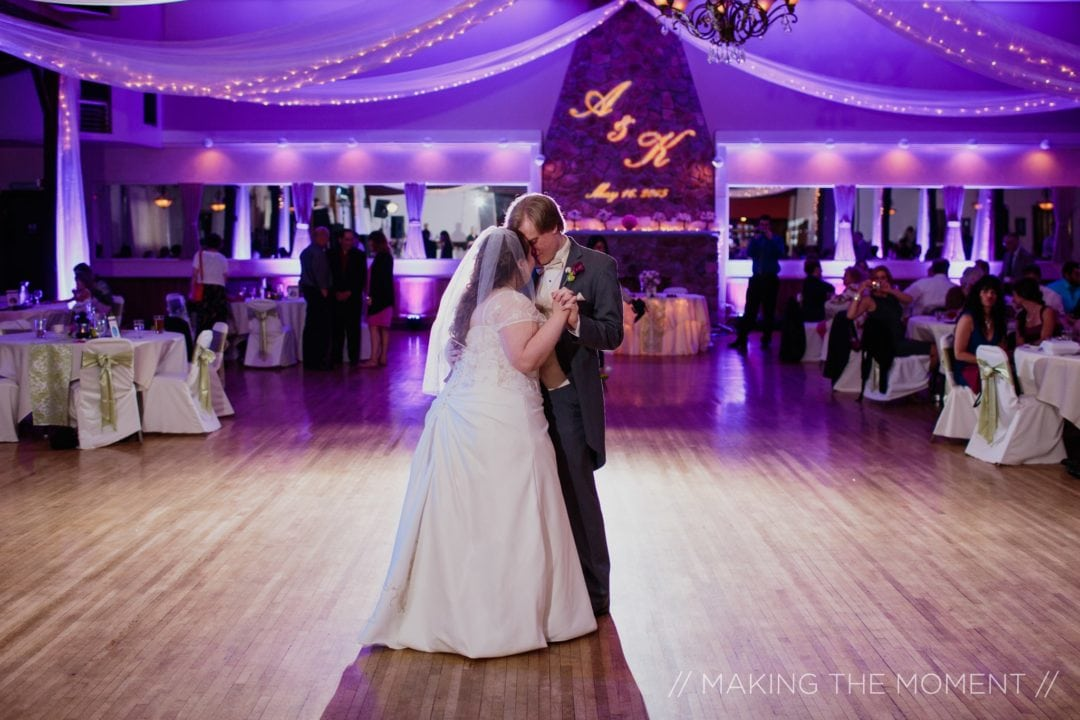 Wedding reception with multiple wedding lighting options