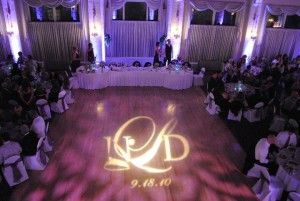 Pine Ridge country club uplights and all lit up with custom monogram