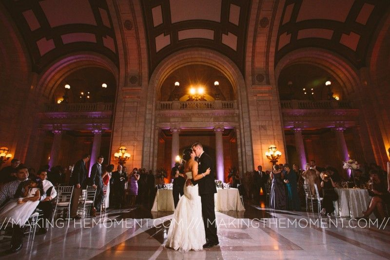 Bride and groom kiss at Cleveland Courthouse wedding reception