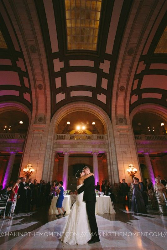 Bride and groom kiss at the Old Cleveland Courthouse.