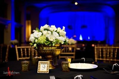 White roses as centerpiece for guest table at The Ballroom at Park Lane Villa
