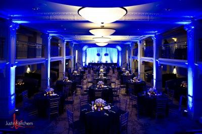 Deep blue uplighting at The Ballroom at Park Lane Villa