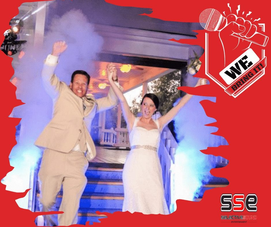 event trend shown: Happy couple entering the wedding reception through CO2 blasts