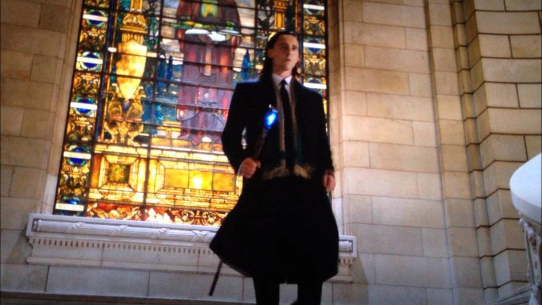 Avengers movie scene with Loki that was filmed in the Old Cleveland Courthouse