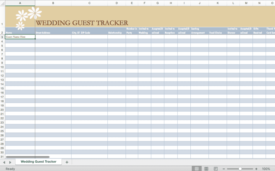 Click picture for a sample wedding guest list tracker
