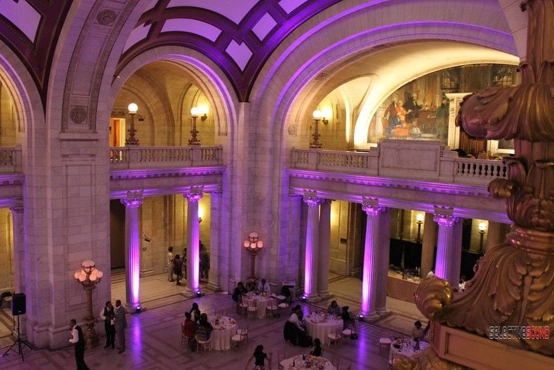 Cleveland courthouse with lavender uplighting