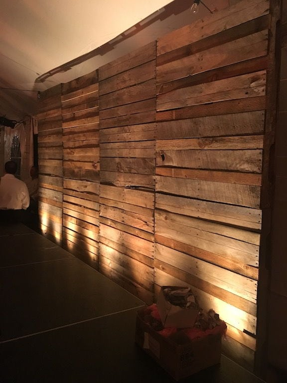 amazing backdrop, rustic backdrop, wood pallet backdrop, cleveland wedding lighting, cleveland backdrop lighting