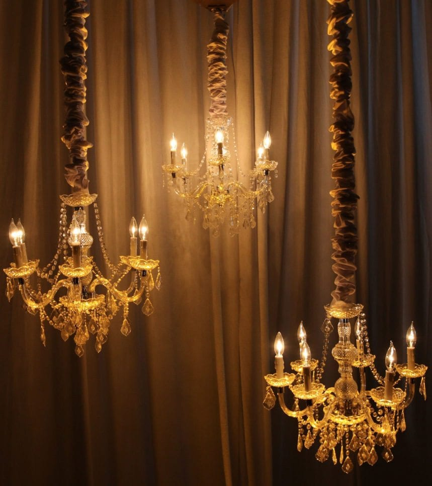 A cluster of small crystal chandeliers from Selective Sound