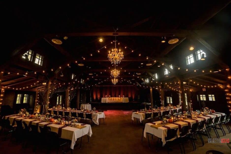 A wedding reception set up at Happy Days lodge in Cuyahoga falls