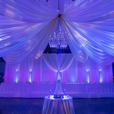 Beautiful backdrop by Party Decór at Executive Caterers at Landerhaven with our uplighting