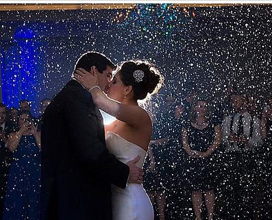 A bride and groom's first kiss at this Cleveland Wedding